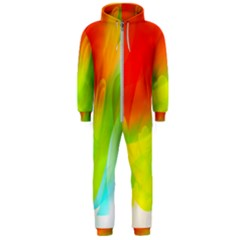 Red Yellow Green Blue Rainbow Color Mix Hooded Jumpsuit (men)  by Mariart
