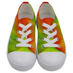 Red Yellow Green Blue Rainbow Color Mix Kids  Low Top Canvas Sneakers