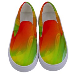 Red Yellow Green Blue Rainbow Color Mix Kids  Canvas Slip Ons