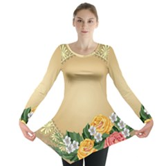 Rose Sunflower Star Floral Flower Frame Green Leaf Long Sleeve Tunic  by Mariart