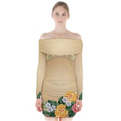 Rose Sunflower Star Floral Flower Frame Green Leaf Long Sleeve Off Shoulder Dress by Mariart