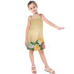 Rose Sunflower Star Floral Flower Frame Green Leaf Kids  Sleeveless Dress by Mariart