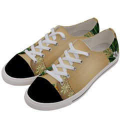 Rose Sunflower Star Floral Flower Frame Green Leaf Women s Low Top Canvas Sneakers by Mariart
