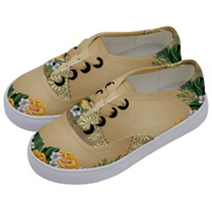 Rose Sunflower Star Floral Flower Frame Green Leaf Kids  Classic Low Top Sneakers by Mariart