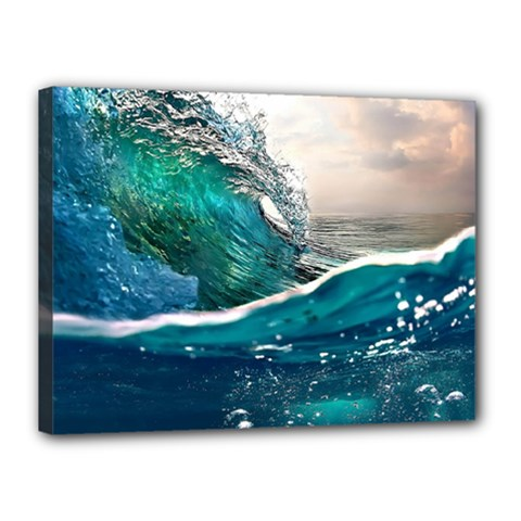 Sea Wave Waves Beach Water Blue Sky Canvas 16  X 12  by Mariart