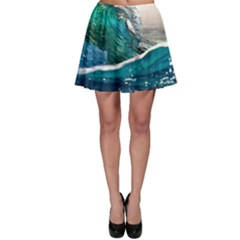Sea Wave Waves Beach Water Blue Sky Skater Skirt by Mariart