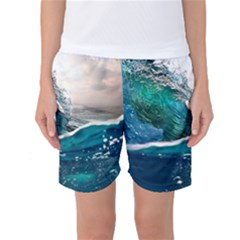 Sea Wave Waves Beach Water Blue Sky Women s Basketball Shorts by Mariart