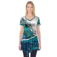 Sea Wave Waves Beach Water Blue Sky Short Sleeve Tunic