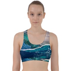 Sea Wave Waves Beach Water Blue Sky Back Weave Sports Bra