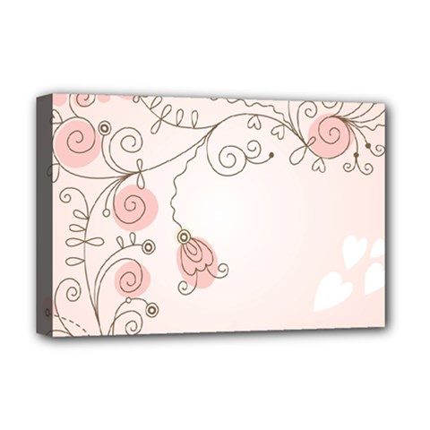 Simple Flower Polka Dots Pink Deluxe Canvas 18  X 12   by Mariart