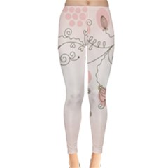 Simple Flower Polka Dots Pink Classic Winter Leggings