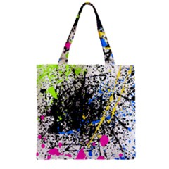Spot Paint Pink Black Green Yellow Blue Sexy Zipper Grocery Tote Bag by Mariart