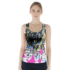 Spot Paint Pink Black Green Yellow Blue Sexy Racer Back Sports Top
