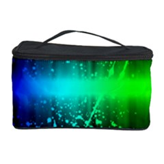 Space Galaxy Green Blue Black Spot Light Neon Rainbow Cosmetic Storage Case by Mariart