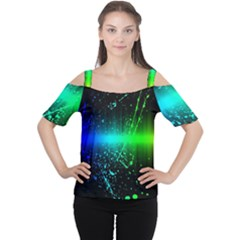 Space Galaxy Green Blue Black Spot Light Neon Rainbow Cutout Shoulder Tee by Mariart