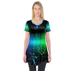 Space Galaxy Green Blue Black Spot Light Neon Rainbow Short Sleeve Tunic  by Mariart