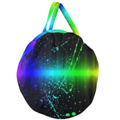 Space Galaxy Green Blue Black Spot Light Neon Rainbow Giant Round Zipper Tote by Mariart