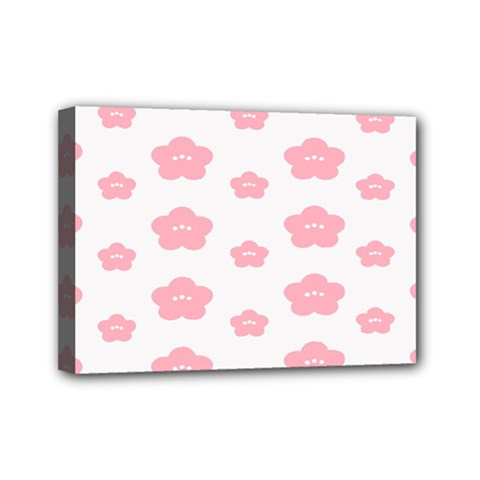 Star Pink Flower Polka Dots Mini Canvas 7  X 5