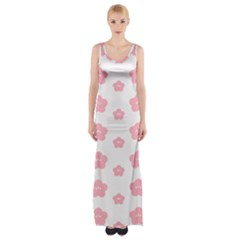 Star Pink Flower Polka Dots Maxi Thigh Split Dress