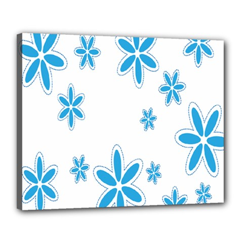 Star Flower Blue Canvas 20  X 16  by Mariart