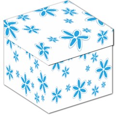 Star Flower Blue Storage Stool 12   by Mariart