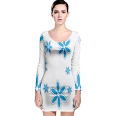 Star Flower Blue Long Sleeve Bodycon Dress by Mariart