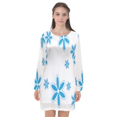 Star Flower Blue Long Sleeve Chiffon Shift Dress