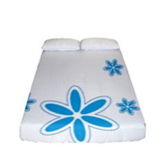 Star Flower Blue Fitted Sheet (full/ Double Size) by Mariart