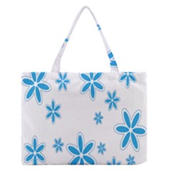 Star Flower Blue Zipper Medium Tote Bag by Mariart