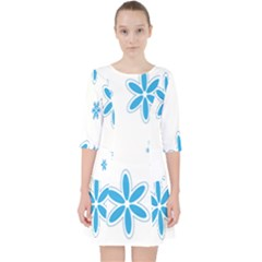 Star Flower Blue Pocket Dress by Mariart