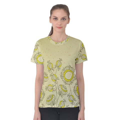 Sunflower Fly Flower Floral Women s Cotton Tee by Mariart