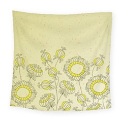 Sunflower Fly Flower Floral Square Tapestry (large) by Mariart