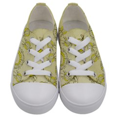 Sunflower Fly Flower Floral Kids  Low Top Canvas Sneakers