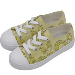 Sunflower Fly Flower Floral Kids  Low Top Canvas Sneakers by Mariart