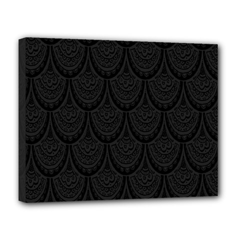 Skin Abstract Wallpaper Dump Black Flower  Wave Chevron Canvas 14  X 11  by Mariart