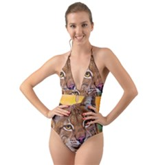 Tiger Beetle Lion Tiger Animals Halter Cut Out One Piece Swimsuit