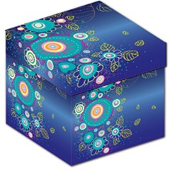 Flower Blue Floral Sunflower Star Polka Dots Sexy Storage Stool 12   by Mariart