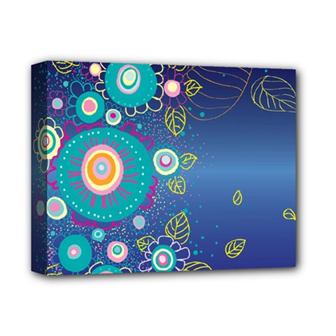 Flower Blue Floral Sunflower Star Polka Dots Sexy Deluxe Canvas 14  X 11  by Mariart