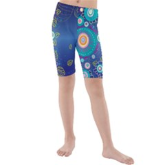 Flower Blue Floral Sunflower Star Polka Dots Sexy Kids  Mid Length Swim Shorts