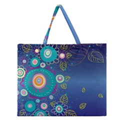 Flower Blue Floral Sunflower Star Polka Dots Sexy Zipper Large Tote Bag by Mariart