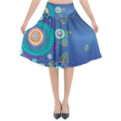 Flower Blue Floral Sunflower Star Polka Dots Sexy Flared Midi Skirt by Mariart
