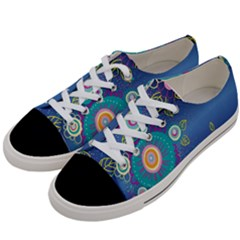 Flower Blue Floral Sunflower Star Polka Dots Sexy Women s Low Top Canvas Sneakers by Mariart