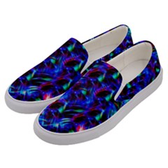Dark Neon Stuff Blue Red Black Rainbow Light Men s Canvas Slip Ons by Mariart