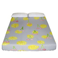 Cute Fruit Cerry Yellow Green Pink Fitted Sheet (california King Size) by Mariart