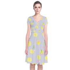 Cute Fruit Cerry Yellow Green Pink Short Sleeve Front Wrap Dress