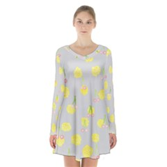 Cute Fruit Cerry Yellow Green Pink Long Sleeve Velvet V Neck Dress