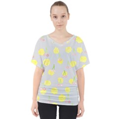 Cute Fruit Cerry Yellow Green Pink V Neck Dolman Drape Top