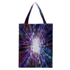 Seamless Animation Of Abstract Colorful Laser Light And Fireworks Rainbow Classic Tote Bag