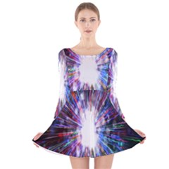 Seamless Animation Of Abstract Colorful Laser Light And Fireworks Rainbow Long Sleeve Velvet Skater Dress