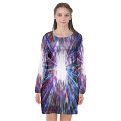 Seamless Animation Of Abstract Colorful Laser Light And Fireworks Rainbow Long Sleeve Chiffon Shift Dress